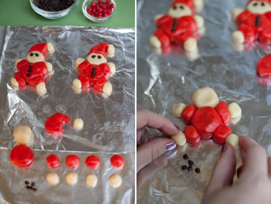Santa cookies being assembled