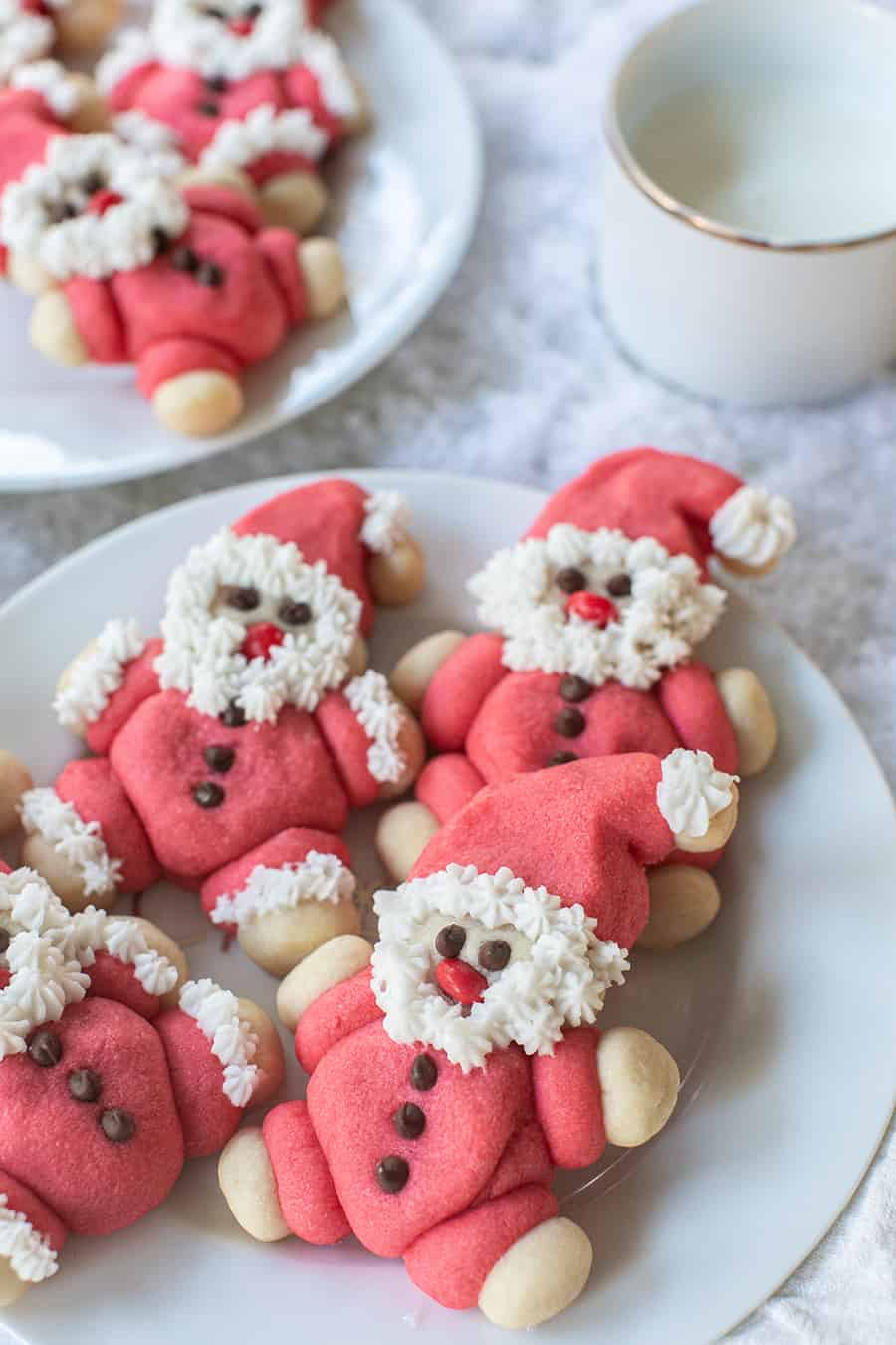 Roly Poly Santa Cookies on a plate