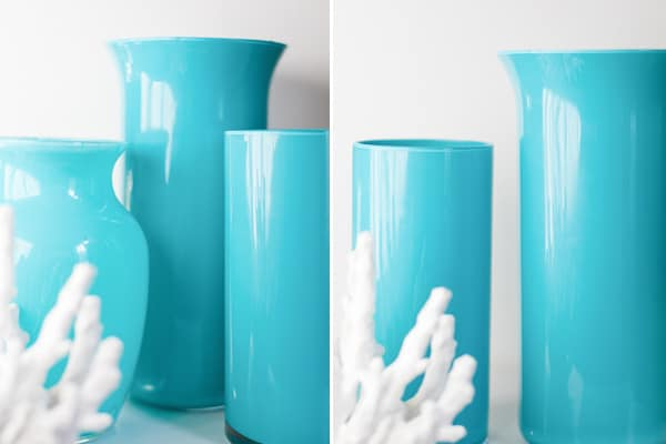 Blue enamel painted vases.