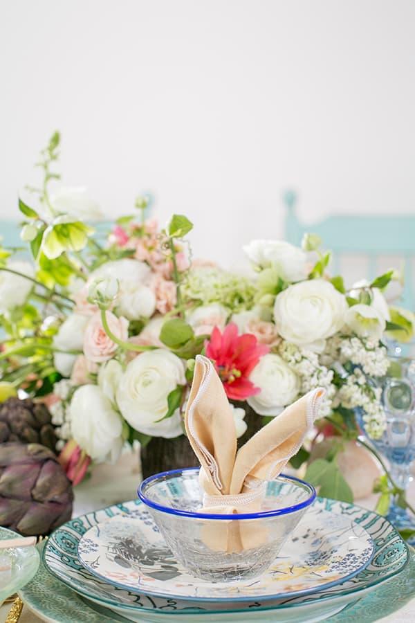 bunny fold on an Easter table setting