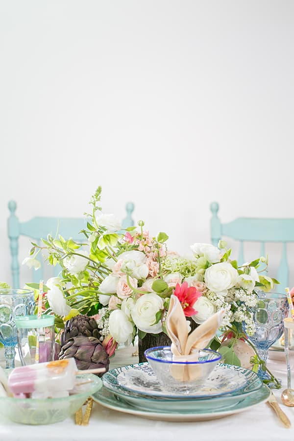 Easter table setting with a bunny fold