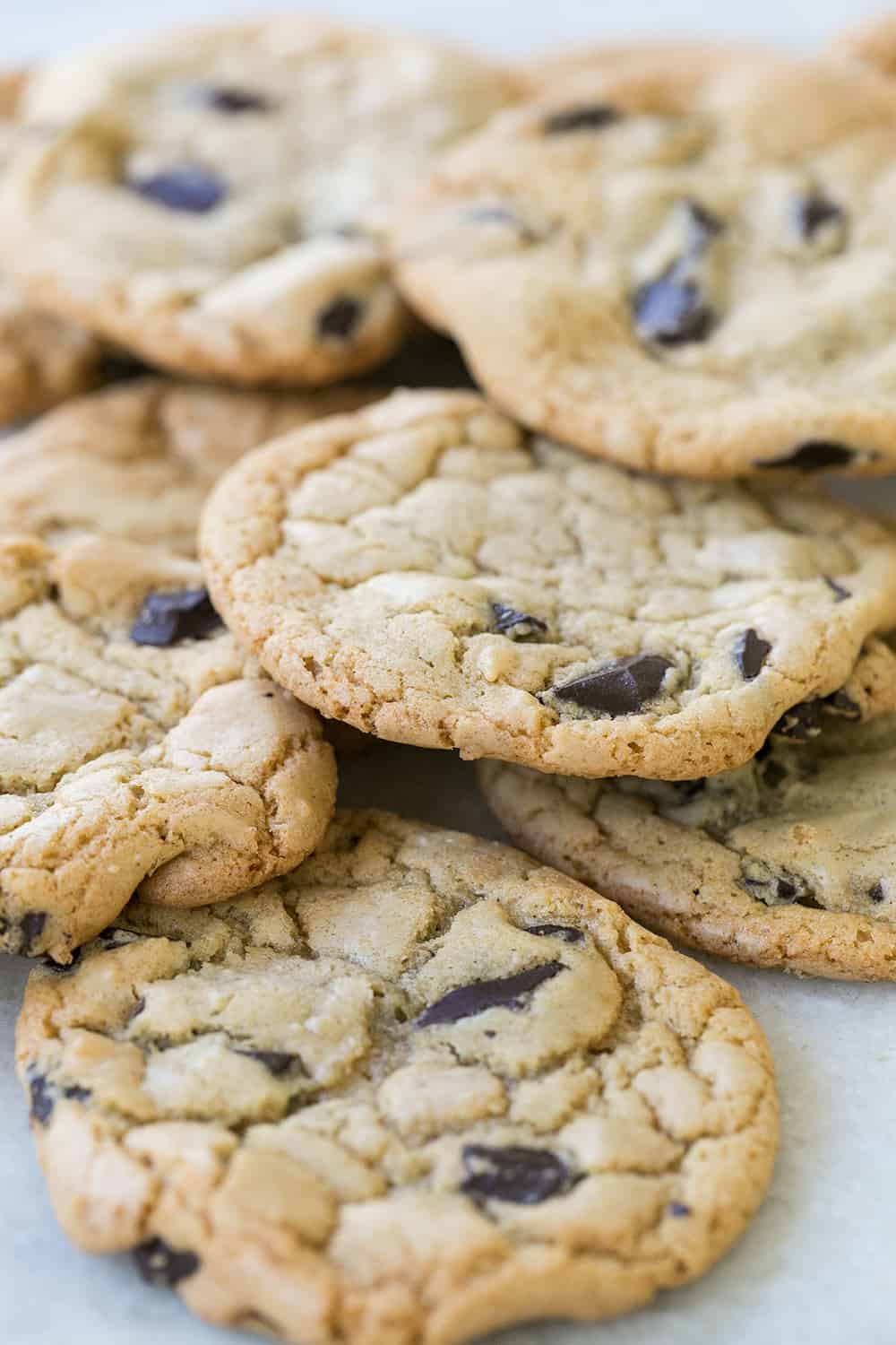 Close up shot of butterless chocolate chip cookies