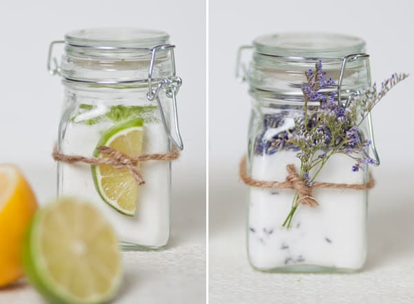 Two jars filled with infused sugar