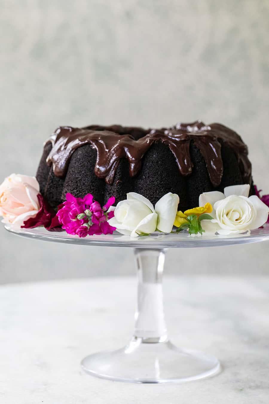 Chocolate bundt cake with flowers