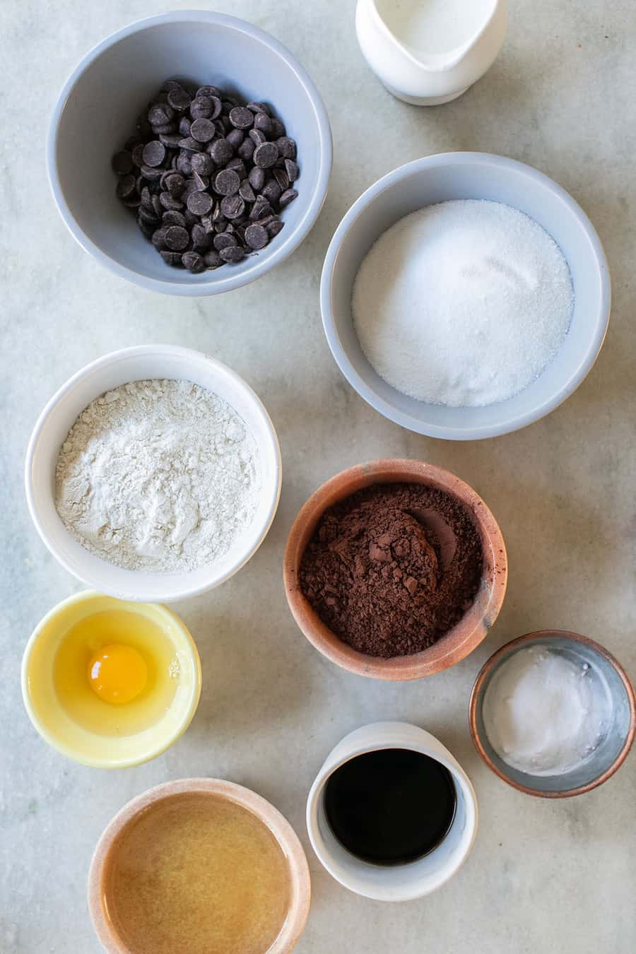 flour, cocoa powder, chocolate chips, coffee, egg, oil ,baking powder and chocolate chips