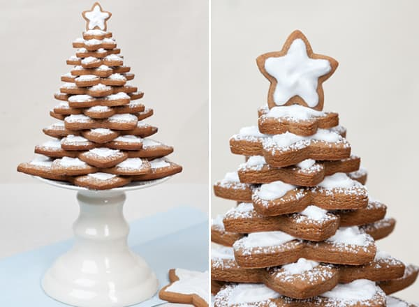 Homemade gingerbread tree on a cake stand.