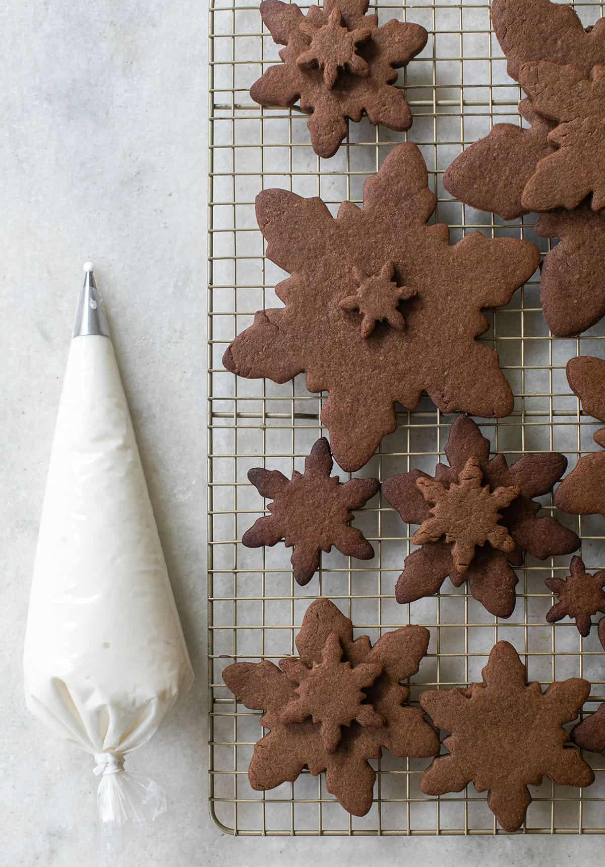 gingerbread snowflake cutouts and icing