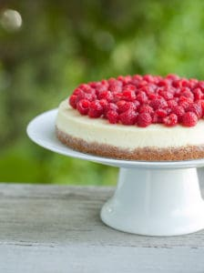 Goat cheese cheesecake with fresh raspberries