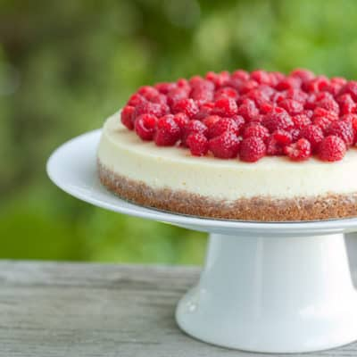 Goat cheese cheesecake with fresh raspberries
