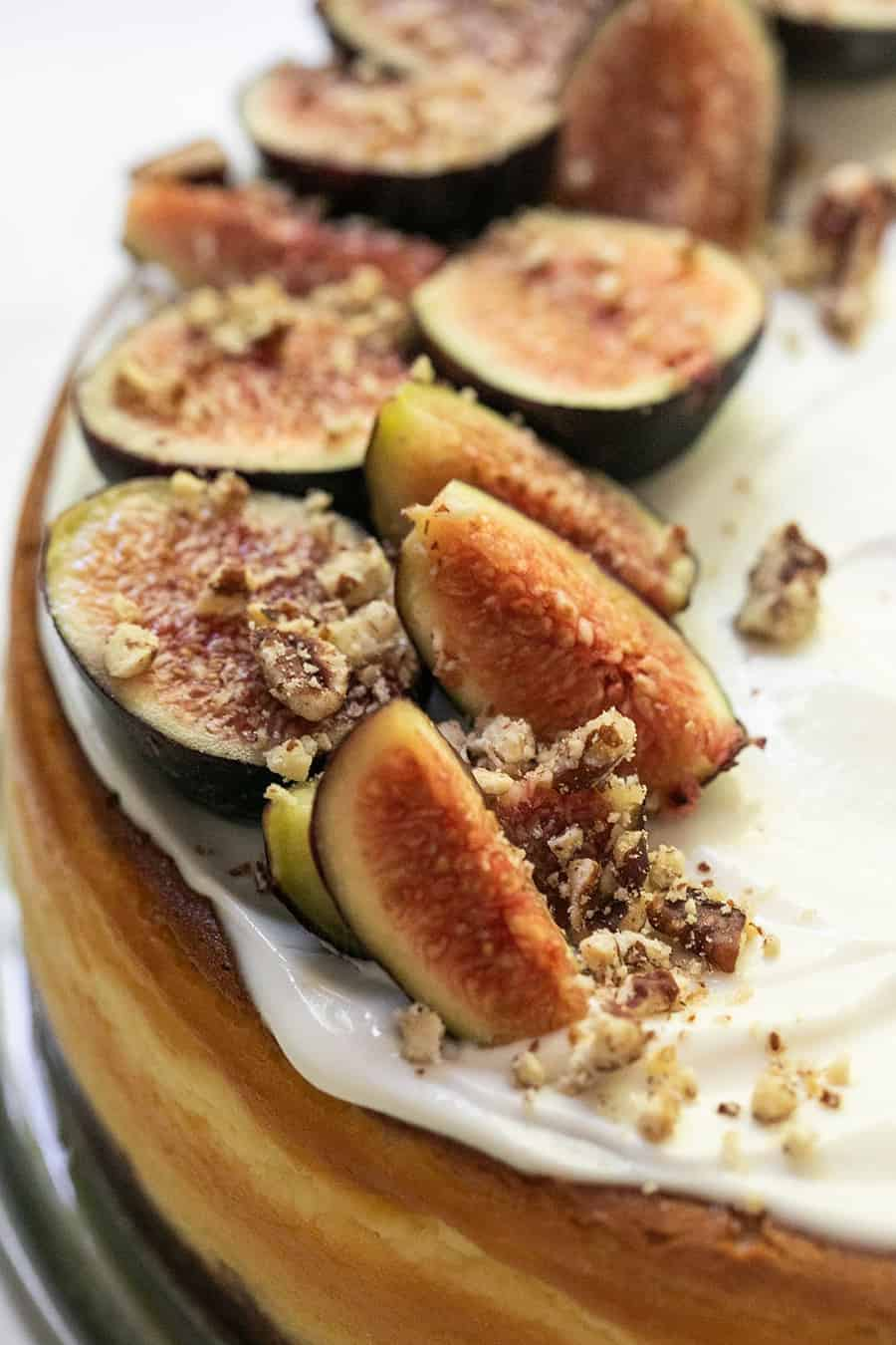 Figs on a cheesecake.