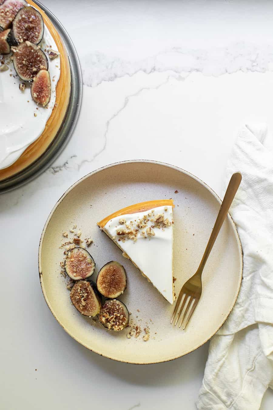 Slice of cheesecake on a plate with figs