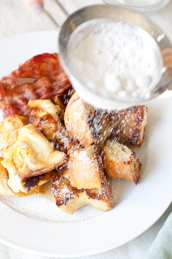 French toast puffs on a white plate