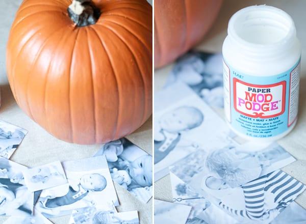DIY decoupage pumpkin