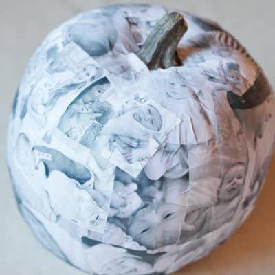 DIY photo decoupage pumpkin