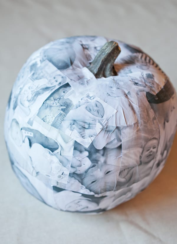 Beautiful decoupage pumpkin with baby pictures