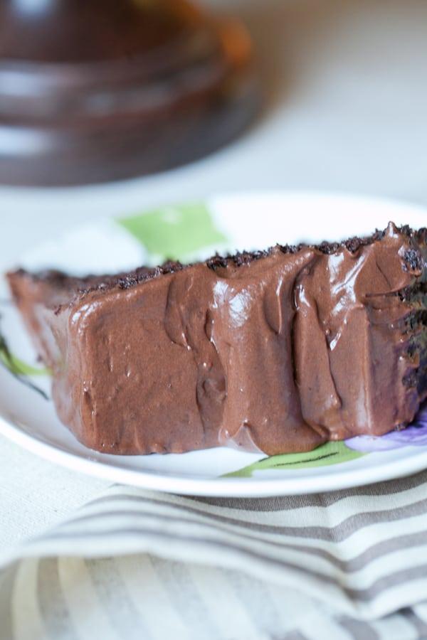 close up of chocolate cake slice