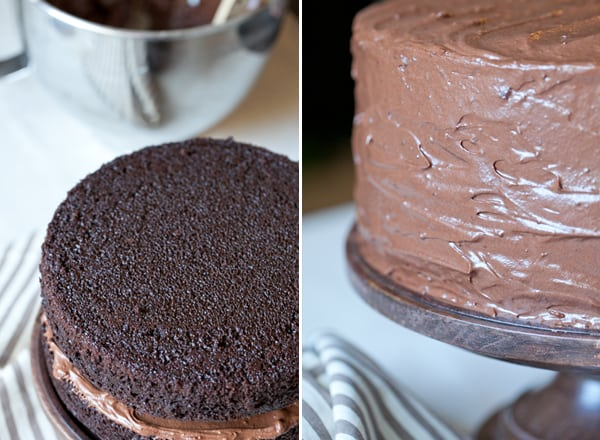 montage of overhead shot of the perfect chocolate cake