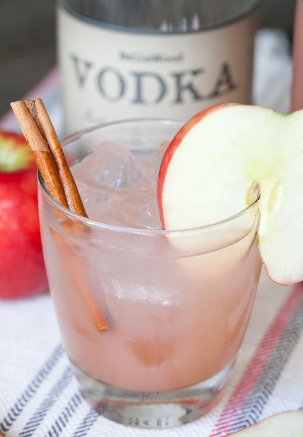 side shot of apple cider cocktail
