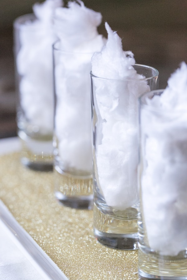 side shot of cotton candy in shot glasses