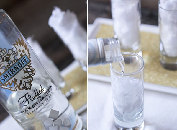 montage of vodka bottle and shot glasses and vodka being poured into cotton candy shot