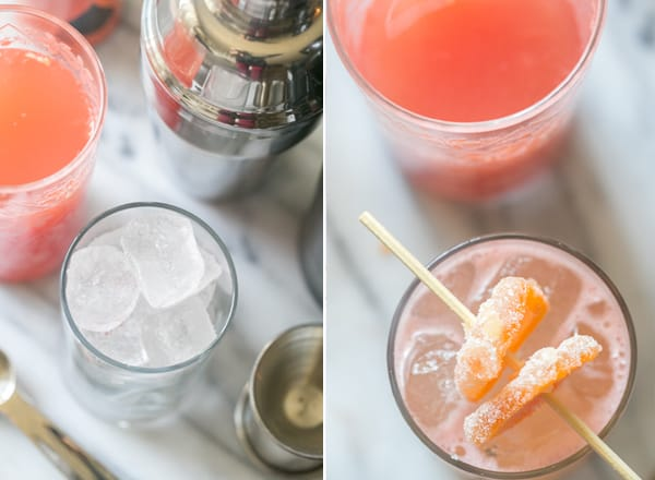 Two photos showing how to make a gin and grapefruit cocktail.