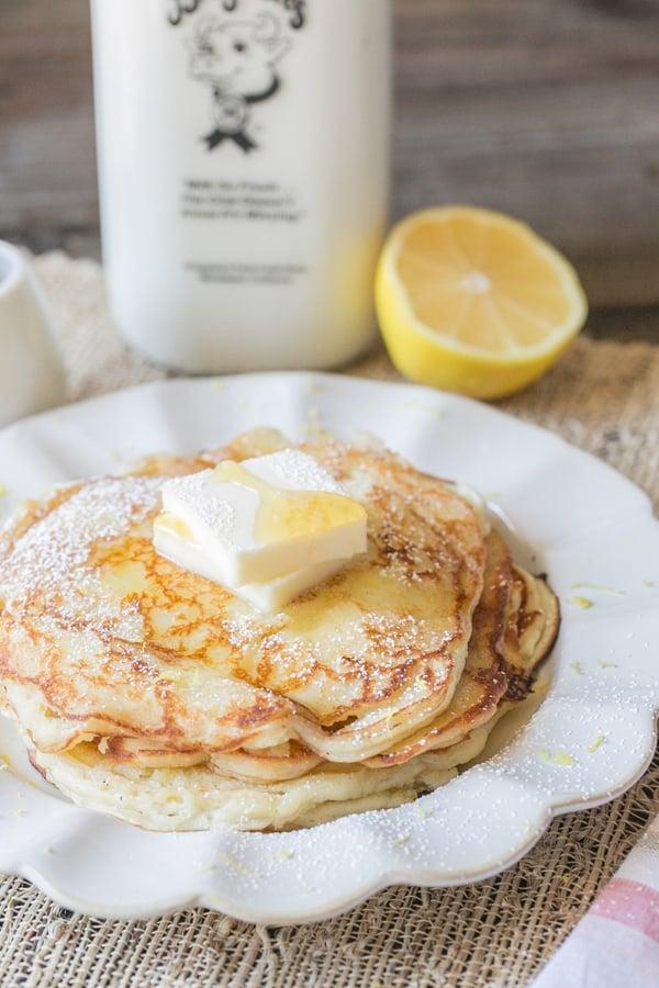side shot of lemon ricotta pancakes