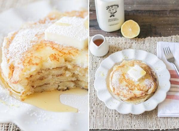 top down shot of lemon ricotta pancakes