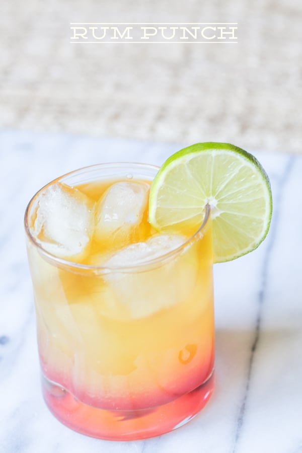 Side shot of a glass of rum punch
