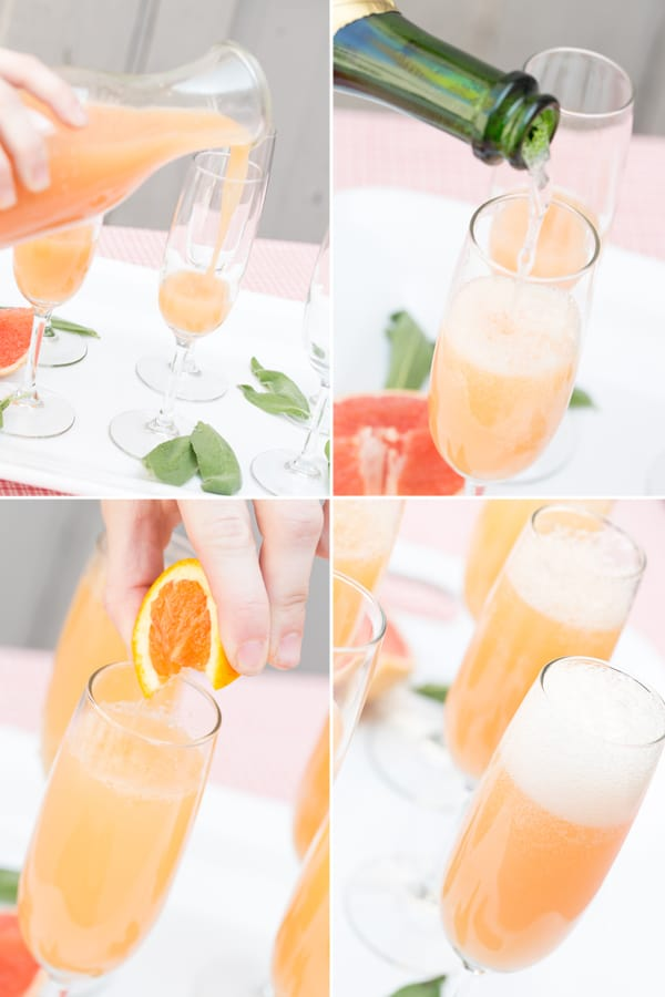 collage of mixing mimosas