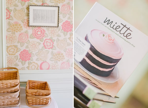 Candy baskets and wallpaper in Miette in San Francisco