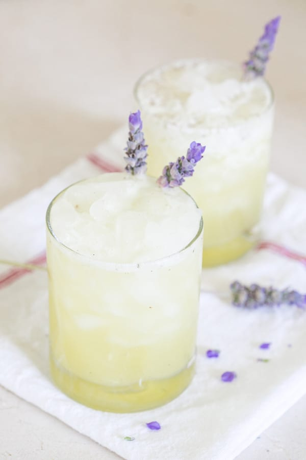 shot of finished drinks for the lavender pineapple juice recipe