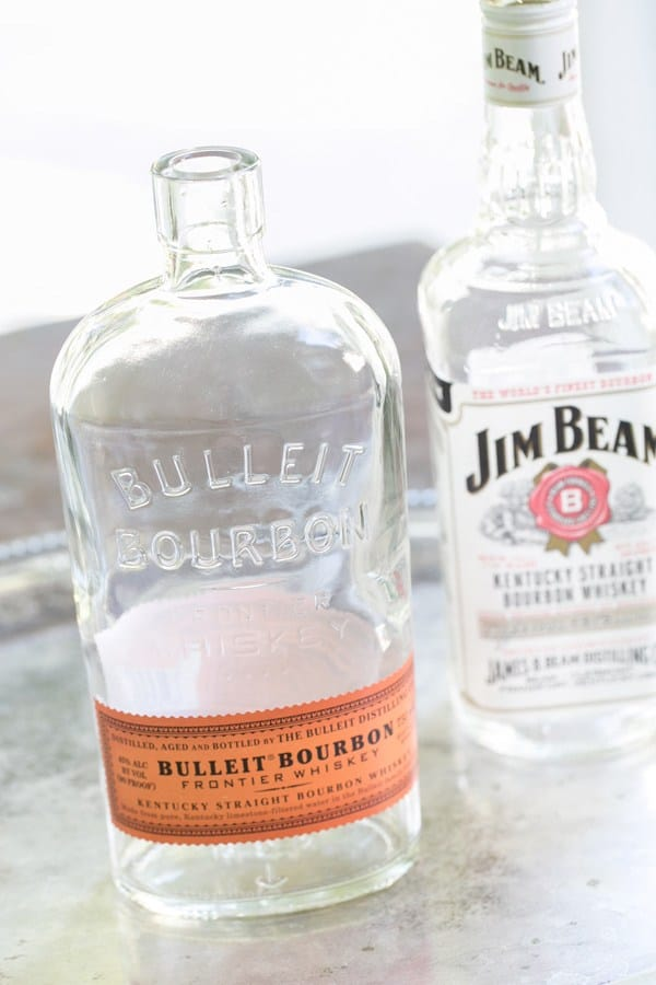 Empty bottle of bullet bourbon.