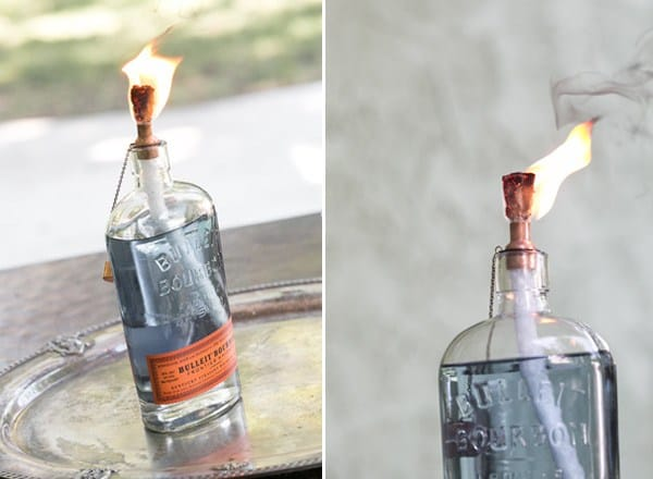 Tiki torch glass bottle