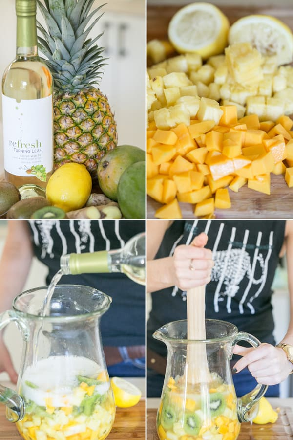 Four photos showing how to make a white wine sangria recipe.