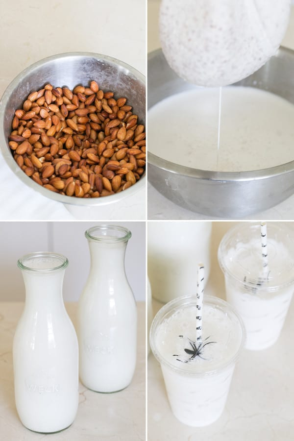 process shots of almond milk being made. Soaking almonds then straining them