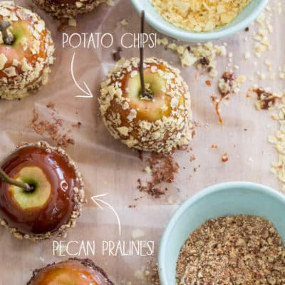 Potato Chip & Praline Pecan Bourbon Carmel Apples