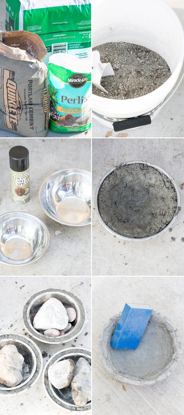 collage of diy cement planter being made