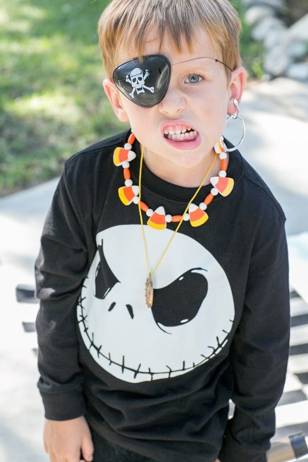 shot of child dressed as a pirate
