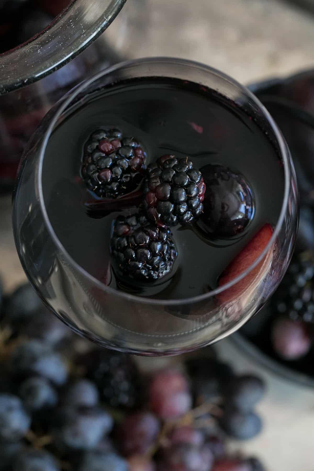 black sangria with blackberries