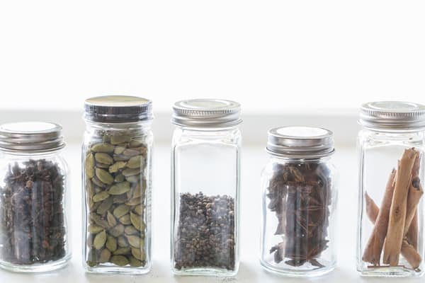 jars of spices for drink mix