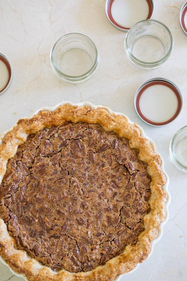 overhead shot of vest pecan pie