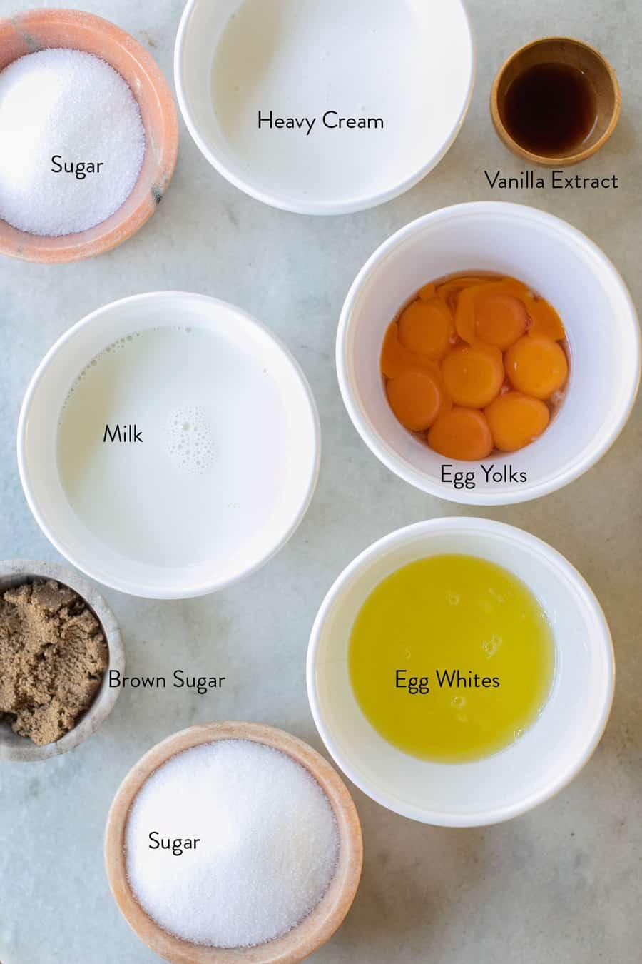 Ingredients to make eggnog