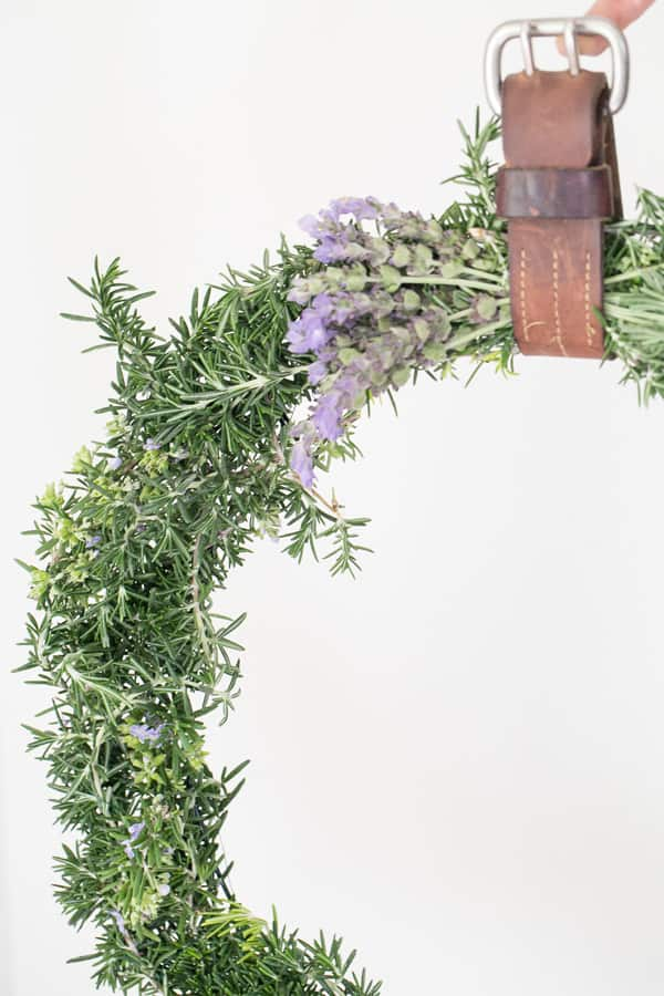 close up of rustic wreath
