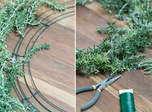 collage of pliers and rosemary being placed on wire frame