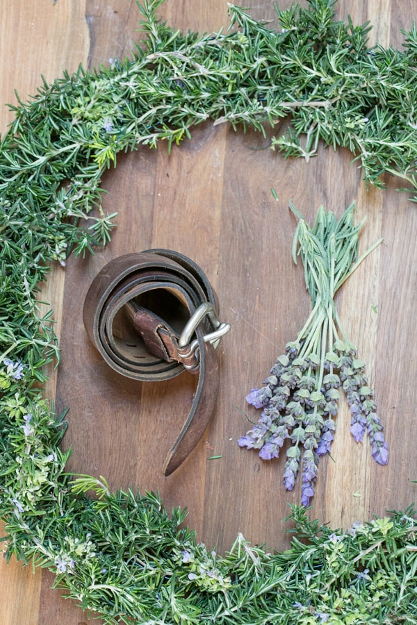 shot of materials for rustic wreath