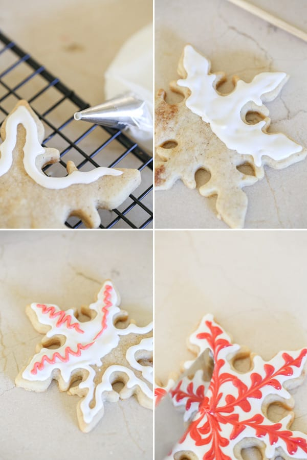 montage of cookies being iced with white and red icing