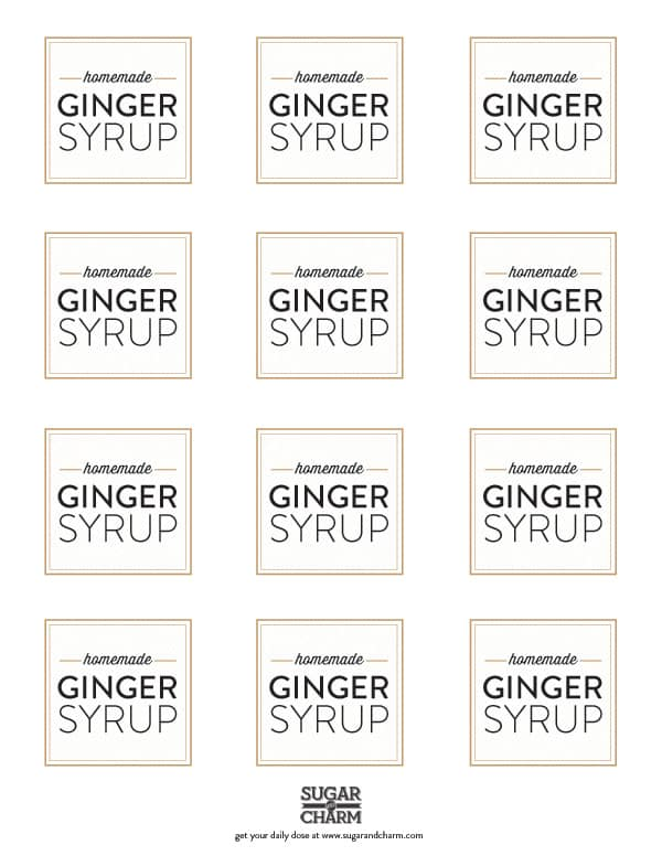 Labels for homemade ginger syrup