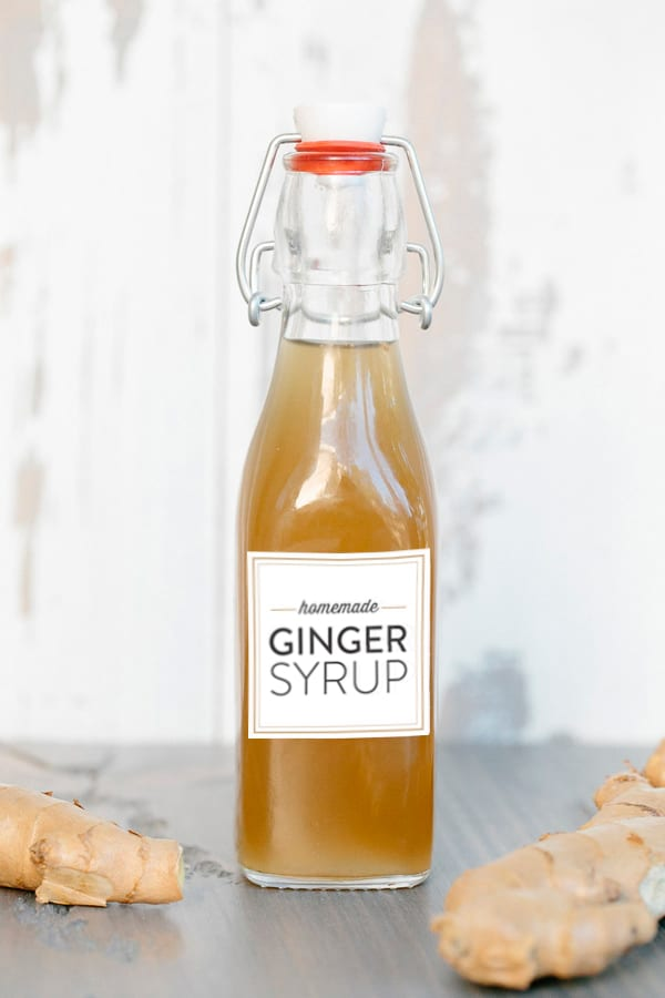 A bottle of homemade ginger syrup