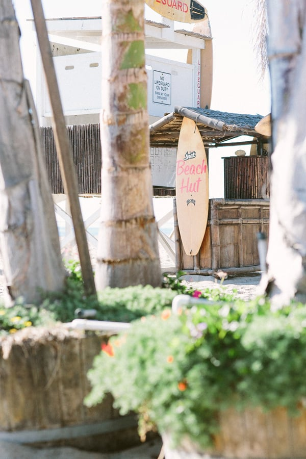 Surf board and beach hut