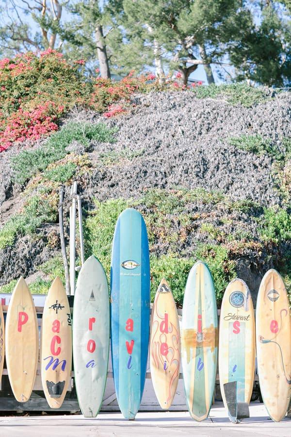 Surf board at Paradise Cove
